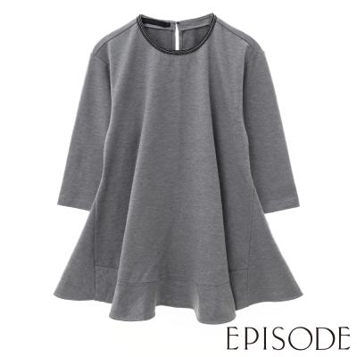EPISODE-簡約珠飾素面傘擺造型七分袖上衣(灰)