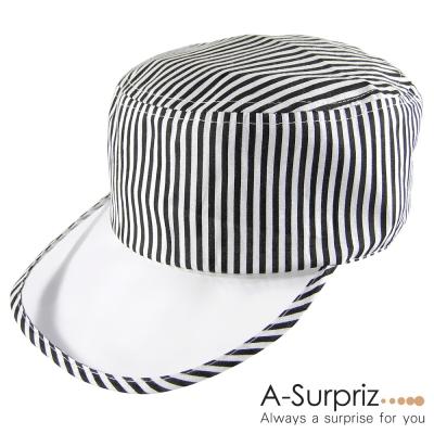 A-Surpriz  流型條紋透明帽沿棒球帽(黑白條)