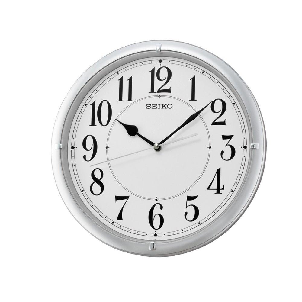 SEIKO 精工 滑動式秒針 靜音掛鐘(QXA637S)-銀框-白/31cm