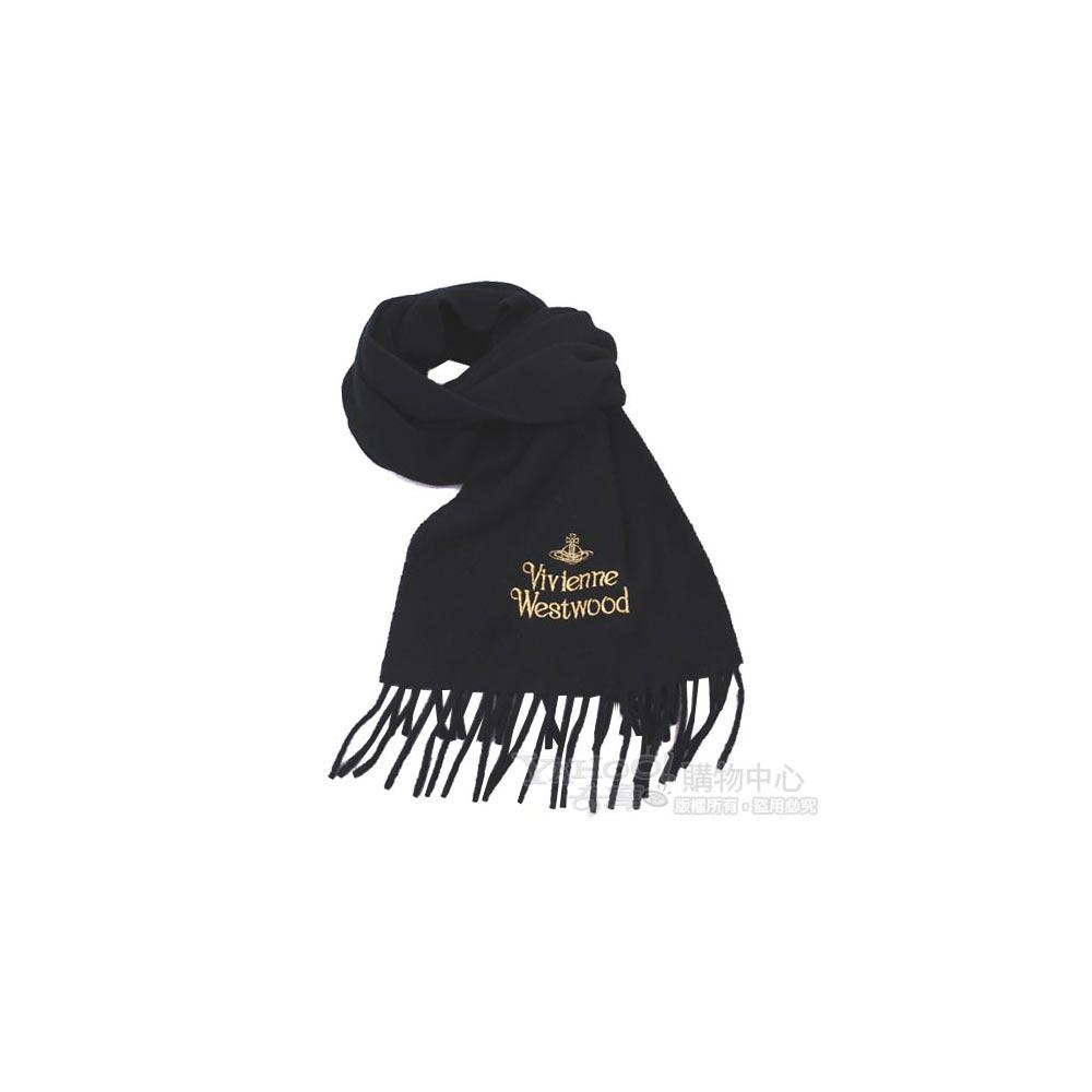 Vivienne Westwood  長版刺繡金色行星字母LOGO羊毛圍巾(黑)