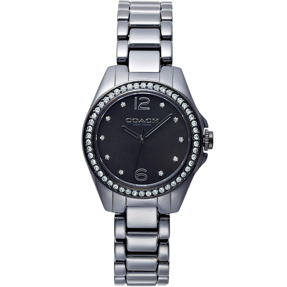 COACH TRISTEN 陶瓷風情時尚腕錶-黑/28mm