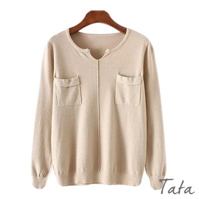 小V領口袋針織上衣-共二色-TATA