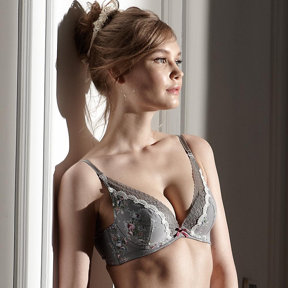 羅絲美內衣 - 玫苜傳情深V泡棉款B-D罩杯內衣 (浪漫灰)