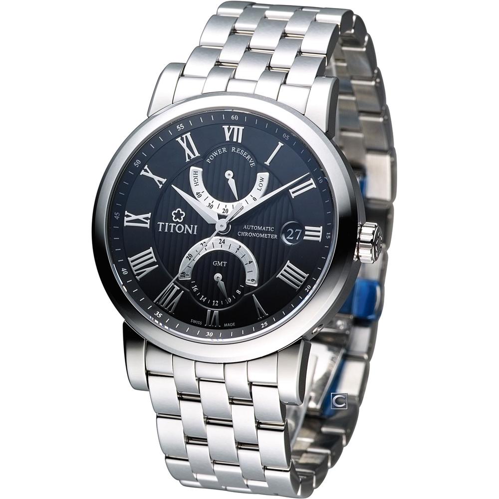 TITONI Master Series 動力儲存機械腕錶-黑/40mm