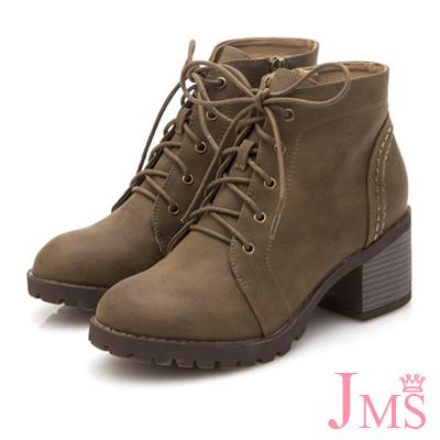 JMS-英式經典綁帶側拉鍊工程短靴-卡其色