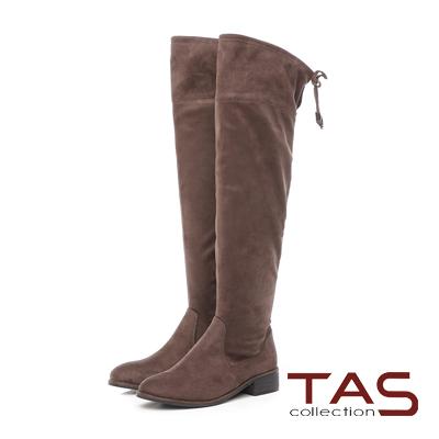 TAS 抽繩素面絨布美腿膝上靴-淺灰咖