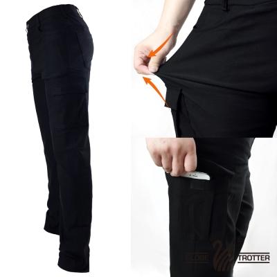 【遊遍天下】多口袋款修身彈力時尚休閒長褲P136黑色
