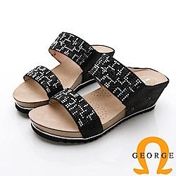GEORGE 喬治-撞色水鑽拖鞋楔型鞋-黑