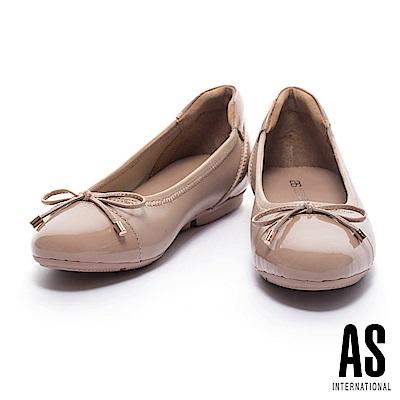 娃娃鞋 AS 典雅質感異材質拼接超軟Q厚底娃娃鞋-粉