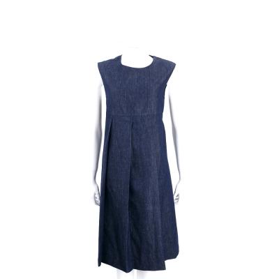 Max Mara-'S Max Mara 藍色單寧布抓摺棉質無袖洋裝