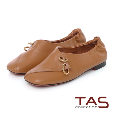 TAS 金屬雙環圓扣交疊方頭休閒鞋-深卡其