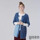 gozo 隨興創作色塊縫紉拼接牛仔長版上衣 (二色)-動態show