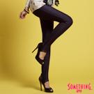 【SOMETHING】LADIVA合身保溫踩腳褲-女款(黑藍)