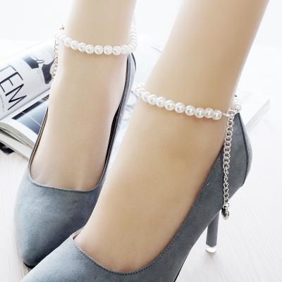 足的美形 優雅珍珠愛心吊墜鞋鏈(1對)