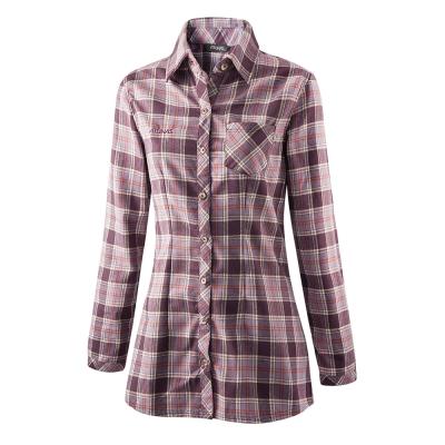 【ATUNAS 歐都納】女款保暖彈性長袖襯衫 A-S1220W 深紫格