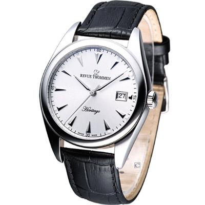 Revue Thommen 都會極簡紳士機械錶-銀白/40mm
