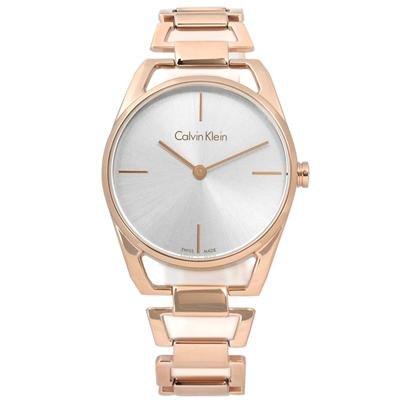 CK Dainty優美線條鏤空感不鏽鋼手錶錶-銀x鍍玫瑰金/30mm