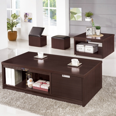 Bernice-德斯4.3尺大小茶几組合(送收納椅凳)-130x70x41cm