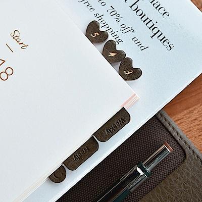 PLEPIC 愛心造型皮革標籤貼-法式棕