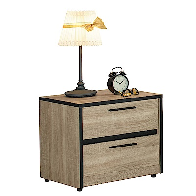品家居 比芭1.6尺木紋雙色二抽床頭櫃-48x40x45cm-免組