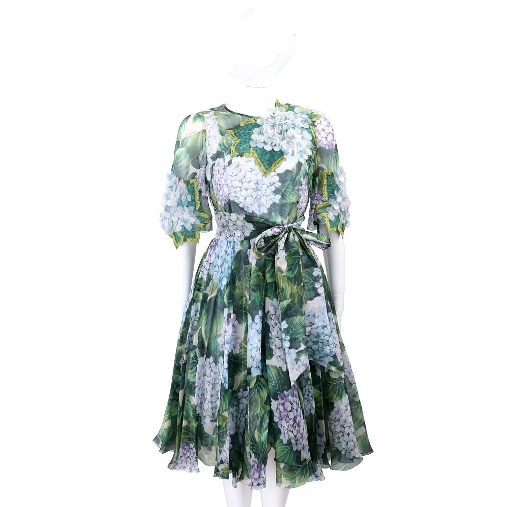DOLCE & GABBANA Ortensia 立體花袖滿版花卉粉鑽背釦雪紡洋裝