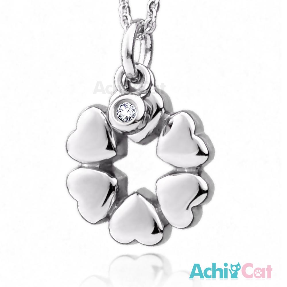 AchiCat 珠寶白鋼項鍊 幸福花圈