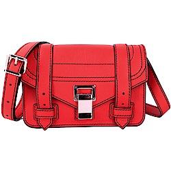 PROENZA SCHOULER PS1 迷你銀釦可調式背帶小牛皮手拿/斜背包(紅色)