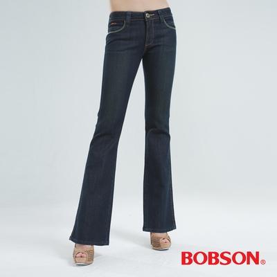 BOBSON 銀色刺繡伸縮小喇叭褲 (黑色)
