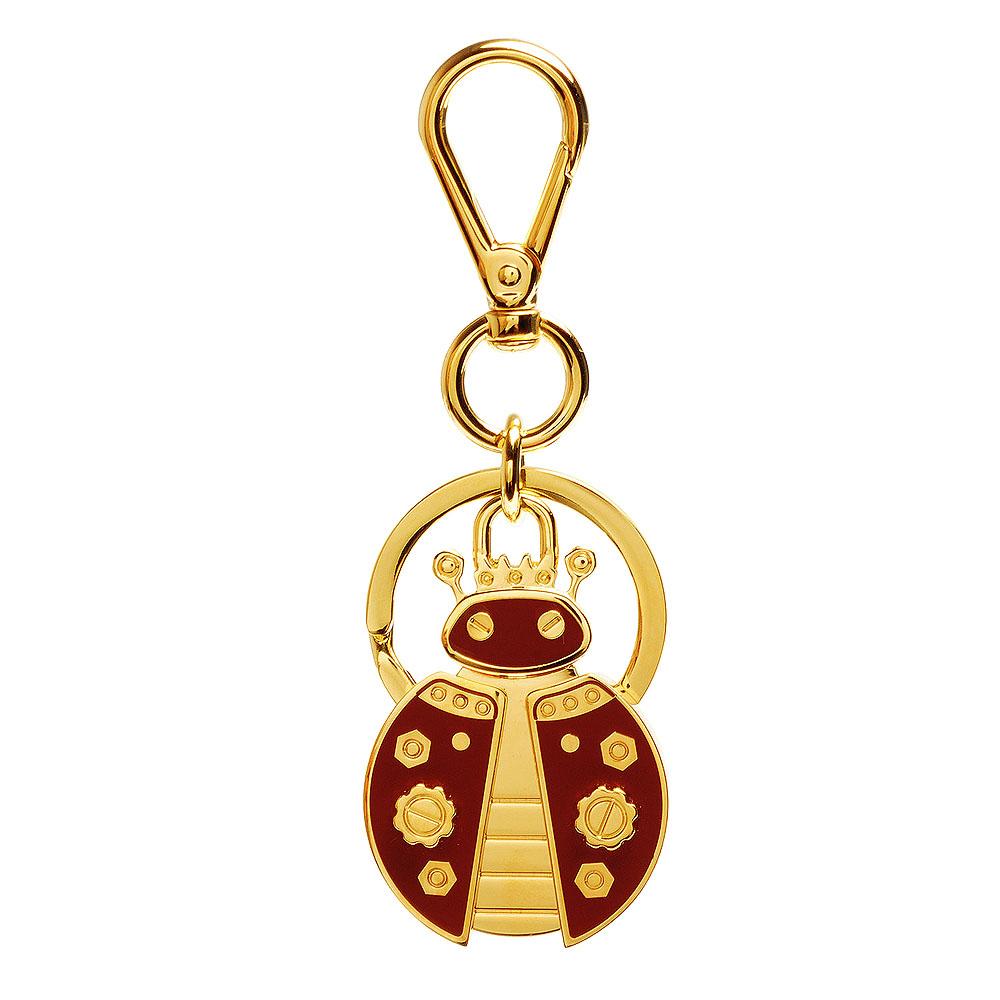 PRADA 經典TRICK METAL金屬機械瓢蟲造型吊牌鑰匙圈(紅X金)