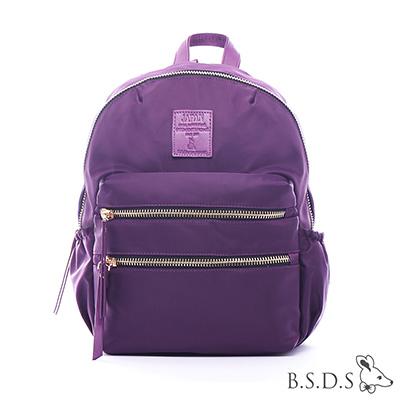 B.S.D.S冰山袋鼠-日系帆布x歐美簡約抗皺布拉鍊後背包-潮流紫