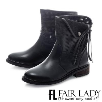 Fair Lady 洗舊刷紋拉鍊設計機車短靴 黑
