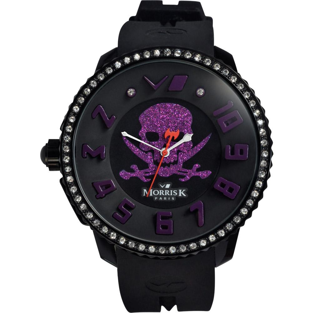MORRIS K 反轉世界晶鑽潮流腕錶-黑x紫/50mm