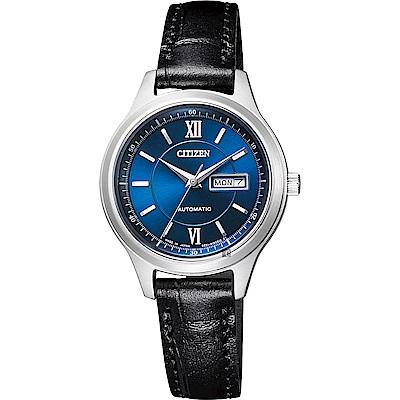 CITIZEN星辰 爵士機械女錶-藍x黑/29mm(PD7150-03L)