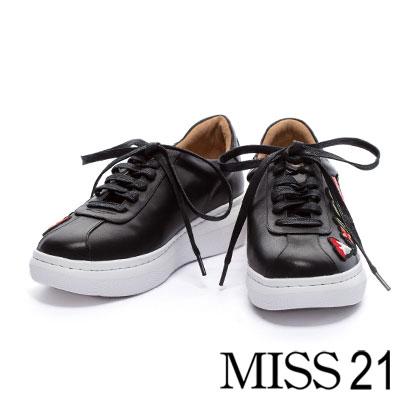 休閒鞋 MISS 21 繽紛電繡花全真皮綁帶休閒鞋-黑