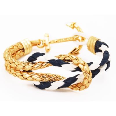 Kiel James Patrick 美國手工船錨水手繩結單圈手環 金色藍白皮革編織