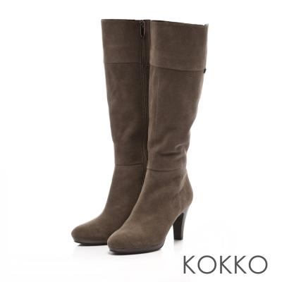 KOKKO-心機顯瘦真皮高跟防水台長靴-軍綠