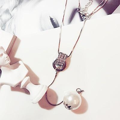 梨花HaNA 簡單百搭系列單顆珍珠水鑽一字長項鍊