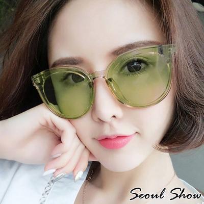 Seoul Show 藍色海洋的傳說 韓系時尚透明框太陽眼鏡 綠色