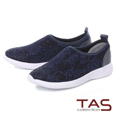 TAS 水鑽蕾絲網布運動休閒鞋-靜謐藍