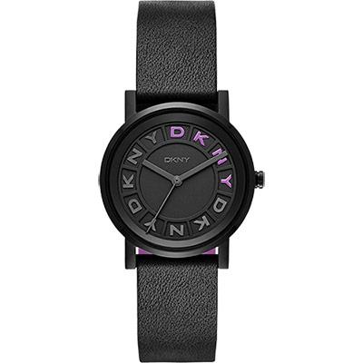 DKNY 紐約派對都會腕錶-黑x紫/34mm
