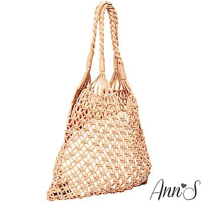 Ann'S文青風格簍空手工編織網袋-棕