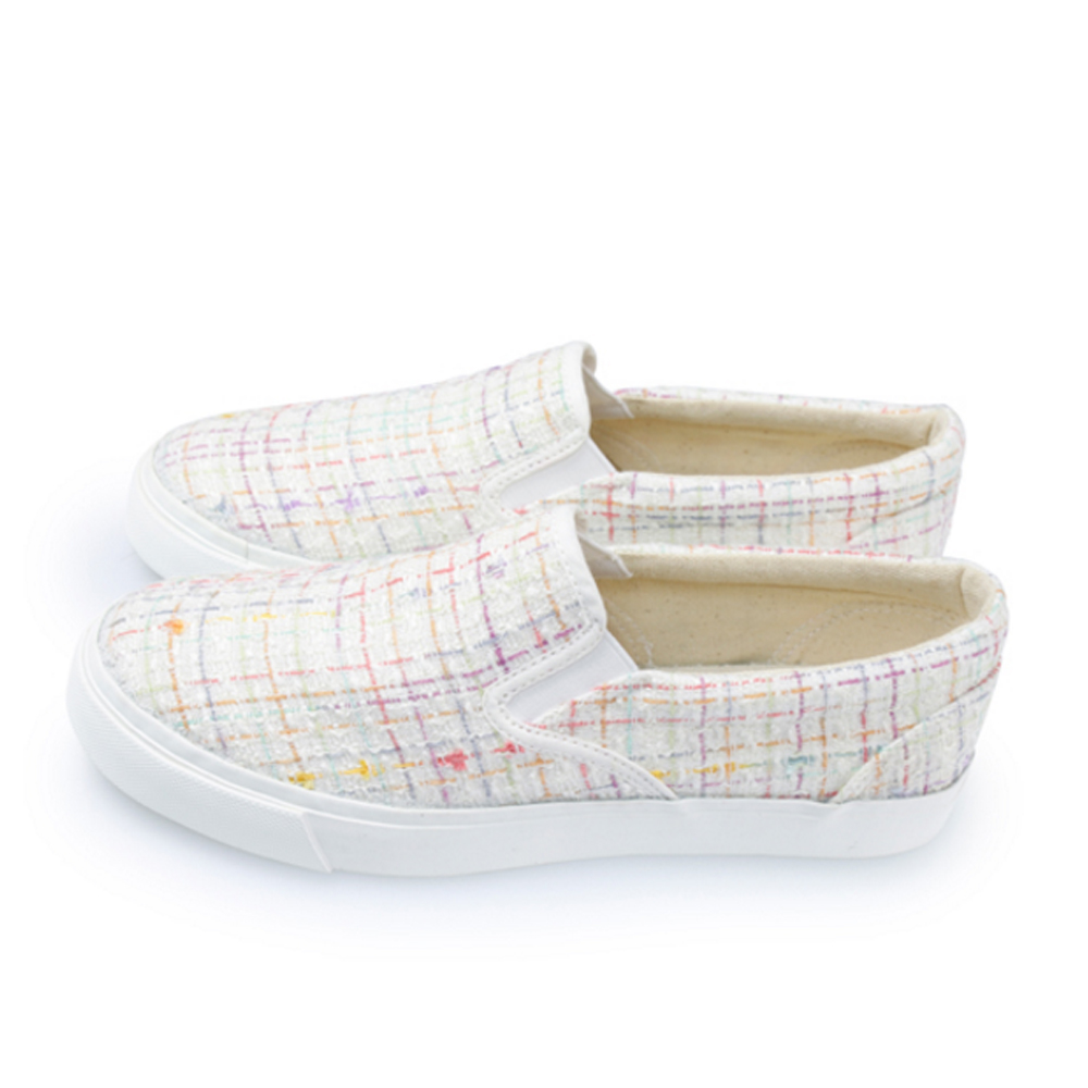 FUFA  MIT 彩虹格線休閒懶人鞋 (U69) -米色
