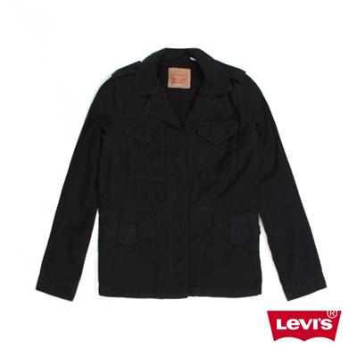 女款純棉抽繩腰身夾克外套-低調黑-Levis