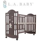 ( 美國 L.A. Baby) 達拉斯嬰兒床/搖擺中床/童床/原木床(深咖啡色)