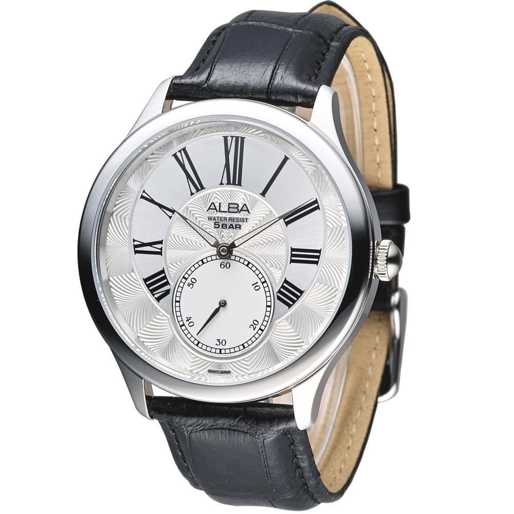 ALBA 倫敦之眼經典小秒針腕錶-銀白(AN4035X1)/43mm 保固二年