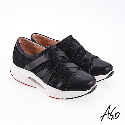 A.S.O 潮流時代 交叉網布拼接牛皮奈米休閒鞋 黑色