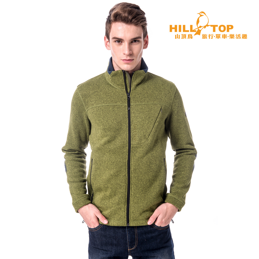 【hilltop山頂鳥】男款吸濕刷毛外套H22MV9橄欖綠麻花