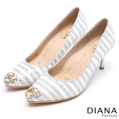 DIANA-漫步雲端焦糖美人款-奢華璀璨亮鑽條紋跟鞋-銀