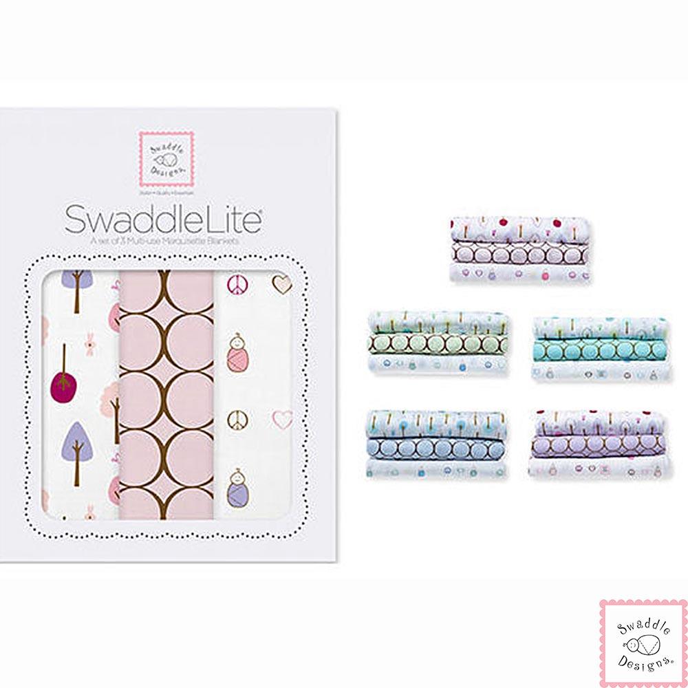 Swaddle Designs 薄棉羅紗多用途嬰兒包巾三入禮盒-圈圈森林