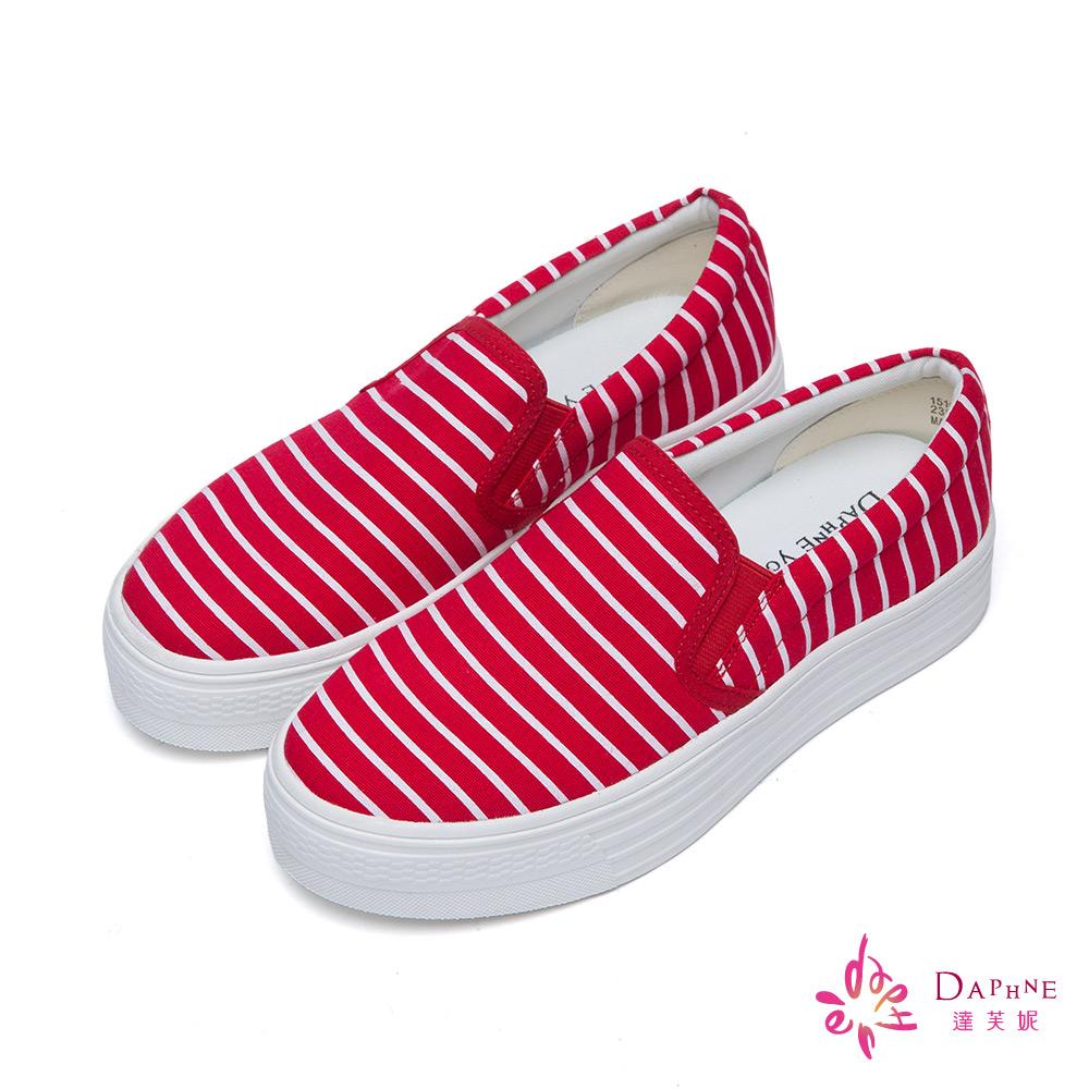 達芙妮DAPHNE 慵懶春夏條紋帆布厚底懶人鞋-櫻桃紅8H